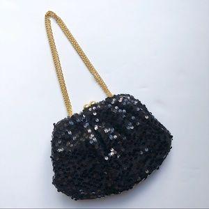 Betsey Johnson Black Sequin Evening Bag